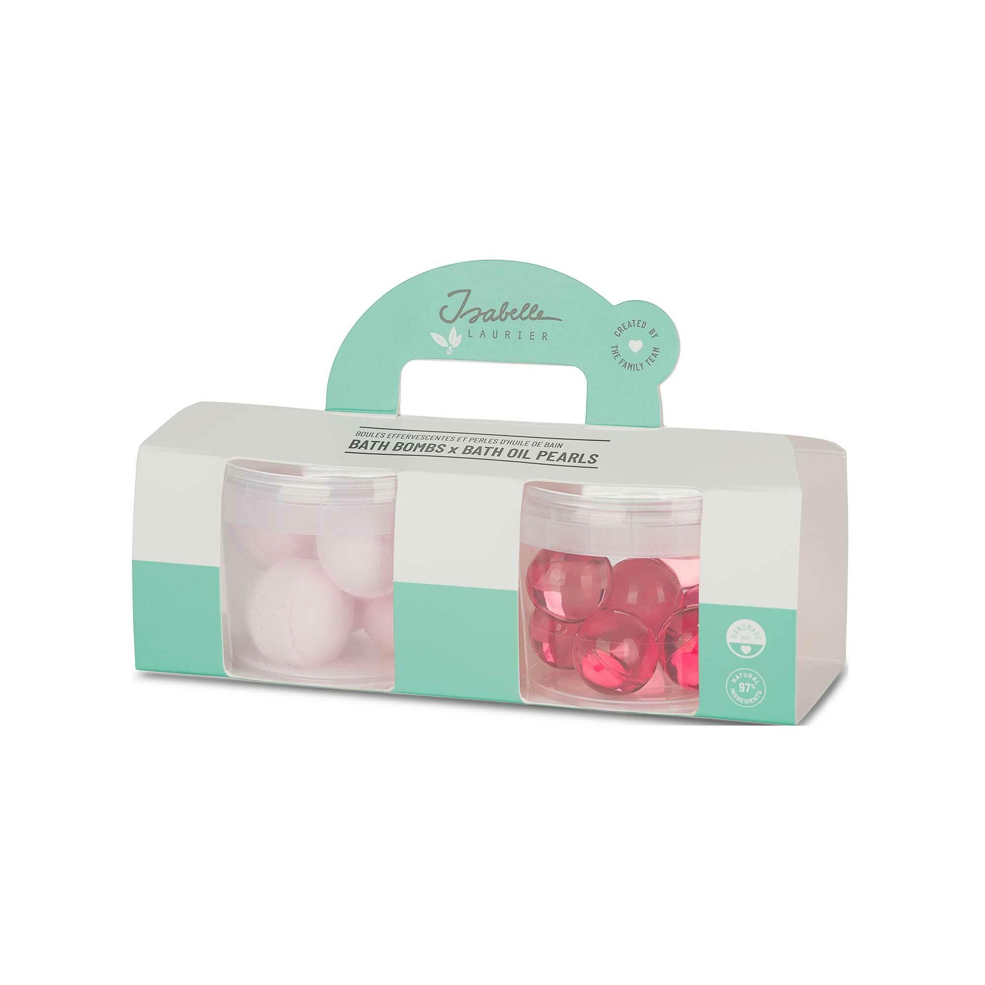 Set of 2 Mini Jars with Bath Oil Pearls + Bath Fizzers